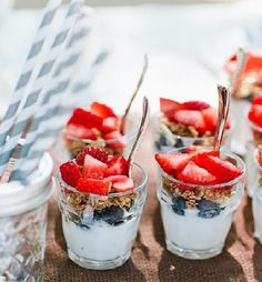 Mini yogurt, granola & fruit parfaits