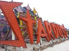 The original vintage Stardust Hotel & Casino sign is now displayed in the Neon Boneyard, downtown Las Vegas.