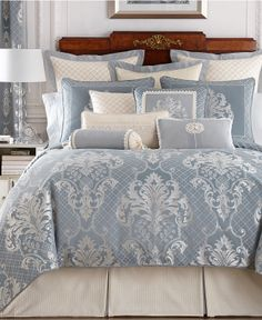 Waterford Newbridge Collection - A classic beauty! Achieve a traditional look with Waterford's Newbridge Collection, featuring large scale damask, geometric & diamond patterns in delicate cream/ivory and timeless blue hues. Bedroom Comforter Sets, Bedroom Bed, Room Decor Bedroom, Queen Bedding, Clean Bedroom, Blue Bedroom, Bedroom Colors, Paisley Bedding, Bed Sets