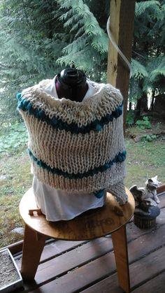 SALE Outlander Hand Knitted, BFL, mernio wool, mohair handspun, art yarn, natural colours