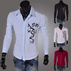 c4c013f98 Aliexpress.com : Buy 2014 Spring Fashion New Long Sleeve Shirts Men,Small  Dragon printed Casual Shirts,Korean Slim Design,Drop&Free Shipping from  Reliable ...