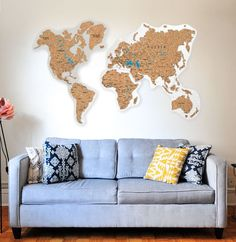 Cork World Map Push Pin by GaDenMap. Travel map for wall decor in office room, bedroom, living room, kid's room decorating. Cork map of the World wall art, Map cork board, Rustic home decor, World Map gifts, World Map cork #woodenwalldecor #kitchenwalldecor #wallart