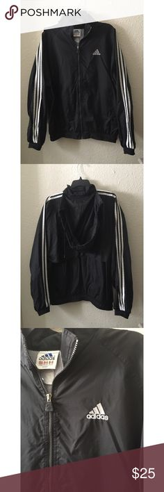 ADIDAS Sports Jacket In good condition, all flaws are pictured so please refer to the pictures to see them. Size Large. Could be worn by men or women. Women could even wear it as an oversized jacket which looks super cute! Check out my closet! adidas Jackets & Coats Raincoats