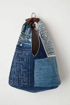 Vintage denim, leather trim, integrated handle, proportion, size, colors, color combination.