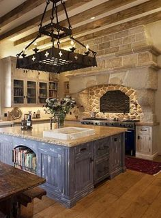 Rustic French Country Kitchen i love this ! not sure about the bull/cow in the hood mural but