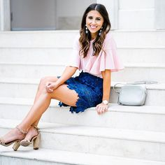 Blue && pink combo. Be sure to size down in this skirt babes // Details:: http://liketk.it/2quEC @liketoknow.it #liketkit #ltkunder50 #ltkstyletip    #Regram via @dressupbuttercup