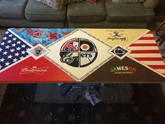 the american flag end triangles Custom Beer Pong Tables, Beer Table, Diy Table, Fraternity Coolers, Frat Coolers, Flag Painting, Cooler Painting, Sorority Canvas, Sorority Paddles
