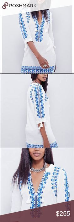 Spell and Gypsy Santorini Embroidered  dress Gorgeous with embroidery in the front and along the sleeve I bought this from free people but it is spell and gypsy collection sold out Spell & The Gypsy Collective Dresses Mini