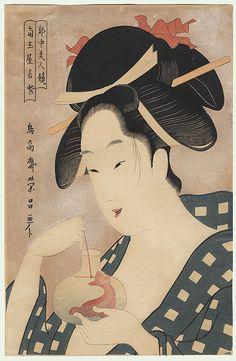 Wakamurasaki of the Kadotamaya by Eisho (active circa 1790 - Japanese Art Prints, Japanese Drawings, Japanese Artwork, Japanese Textiles, Japanese Painting, Chinese Painting, Geisha Art, Japanese Folklore, Art Japonais