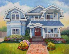 "Daily Paintworks - ""Shore House"" - Original Fine Art for Sale - © Jeanne Bruneau"