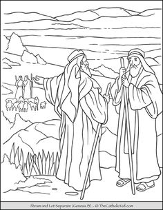 Abraham and Lot Separate Bible Coloring Page.