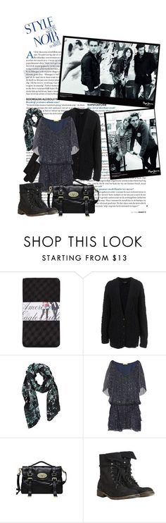 """""""Be careful what you wish for. You just might get it"""" by bananna09 ❤ liked on Polyvore featuring American Eagle Outfitters, Catherine Malandrino, Pepe Jeans London, Mulberry, AllSaints, studded boots, alexa chung, jon kortajarena and boyfriend cardigan"""