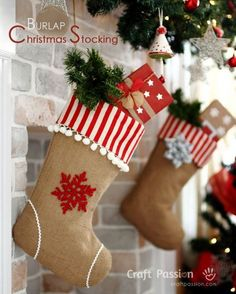 burlap christmas stockings diy christmas stockings homemade christmas project see more at http - Christmas Decorations For Stockings