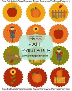 Free Fall Printable Use as Cupcake toppers, baking labels, tags, crafts #Autumn