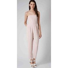e33e27a841b8 BNWT Topshop Pale/ light Pink tailored Bandeau Jumpsuit Size 8 /EUR36 | eBay