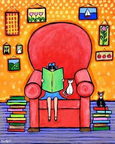 A great Sunday afternoon with reading / Una estupenda tarde de domingo con la lectura (ilustración de Shelagh Duffett)
