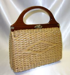Vintage Woven Wicker Purse Hand Made in British Hong Kong