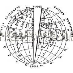 World Map with Longitude and Latitude, Tropic of Cancer