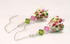 Lampwork & Swarovski Crystal Earrings Pink by FireSongCreations $35