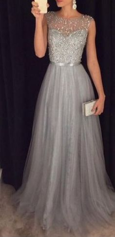 2016 Grey A-line Prom Dresses Beaded Long Tulle Luxury Evening Gowns