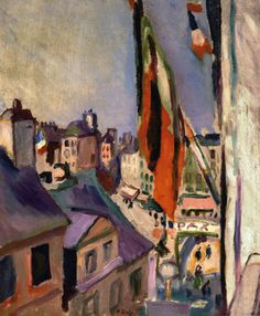 Flag Decorated Street by Pierre-Auguste Renoir  Size: 54.6x46 cm  Medium: oil on canvas