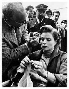 Ingrid Bergman is my kind of girl - won't put down her knitting even while having her makeup touched up