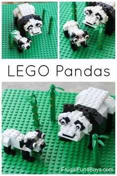 Panda Bear Building Instructions Building instructions for a LEGO panda mother and baby.Building instructions for a LEGO panda mother and baby. Lego Duplo, Lego Animals, Baby Animals, Baby Pandas, Red Pandas, Wild Animals, Lego Challenge, Lego Activities, Lego Games