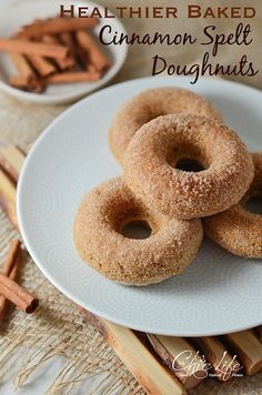 Healthier Baked Cinnamon Spelt Doughnuts {Recipe} - The Chic Life