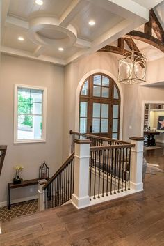 Real Fit Housewife: Welcome to my Home: Our Little Slice of Heaven  Front entry, stairs, wood floors, beams
