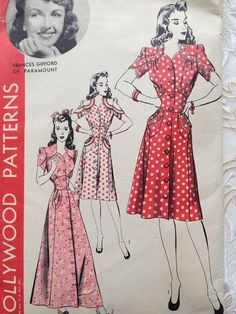 1940s Dress sewing pattern. Love, love, love!