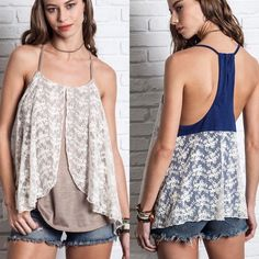 DAISY BLU butterfly top - NAVY Adorable & very hippie, flower child. I love ️SPRING dual panel top. T-Back design for that sexy girl. We have it all in us! ‼️️NO ️TRADE, ️PRICE FIRM‼️ Bellanblue Tops