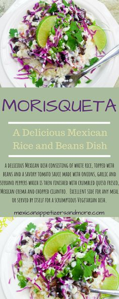 This Morisqueta recipe is a delicious Mexican rice dish topped with beans, a savory tomato sauce topped with crumbled queso fresco, crema and cilantro. Side Recipes, Gourmet Recipes, Mexican Food Recipes, Cooking Recipes, Dinner Recipes, Dessert Recipes, Vegetarian Dish, Vegetarian Recipes, Healthy Recipes