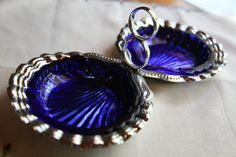 Vintage Silver Serving Dish with Cobalt by JacarandaBlueDesigns Serving Dishes, Cobalt Blue, Vintage Silver, Shells, Sapphire, Bottle, Antiques, Unique Jewelry, Handmade Gifts