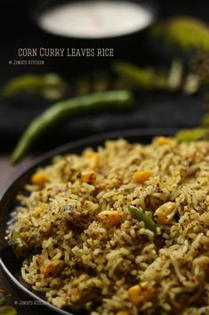 Curry leaves rice - A spicy rice recipe made with the freshly prepared spice mix and sweet corn and basmati rice. Fun Baking Recipes, Rice Recipes, Indian Food Recipes, Cooking Recipes, Indian Snacks, Cooking Tips, Recipies, Briyani Recipe, Podi Recipe