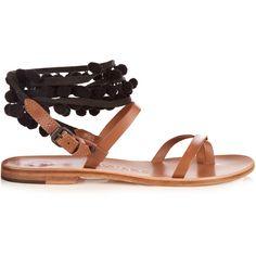 Álvaro Anna pompom-embellished leather sandals ($405) ❤ liked on Polyvore featuring shoes, sandals, pompom, black tan, black strap sandals, tan strappy sandals, tan leather sandals, black leather sandals and wrap sandals