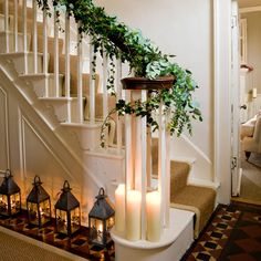 great Christmas banister.  (My one yr. old would carry those candles everywhere) beautiful for the childless :)