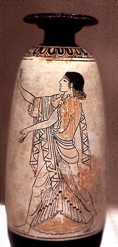 White-ground alabastron depicting Electra (other side shows Clytemnestra with axe); Attic, c. 490 BCE