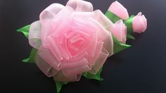 Украшение на заколку Канзаши / Роза с бутонами из органзы - YouTube