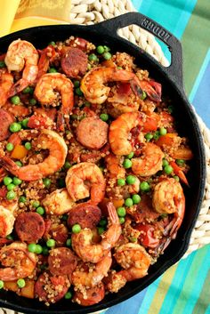 Shrimp and Chorizo Skillet Paella with Quinoa is a healthy, gluten-free one-pot meal that comes together in minutes.  Perfect for busy weeknight dinners. | The Suburban Soapbox