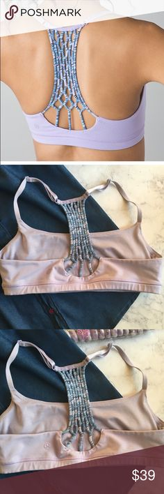 Lululemon True self pretty purple yoga bra In good conditions. So cute and trendy ! About 31 inches all around waistband  without stretching. No pads but has inserts for your pads lululemon athletica Intimates & Sleepwear Bras