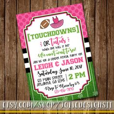 Touchdowns or Tutus Gender Reveal Party Invitation Baby Boy