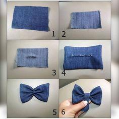 Making Hair Bows, Diy Hair Bows, Diy Bow, Diy Ribbon, Artisanats Denim, Denim Hair, Fabric Bows, Fabric Flowers, Denim Crafts