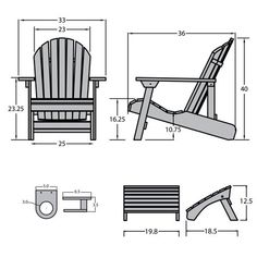 Hamilton Folding & Reclining Adirondack Chair with Ottoman & Easy-Add Cup Holder Coastal Teak Gray- Highwood Wood Adirondack Chairs, Patio Chairs, Outdoor Chairs, Wood Pallet Furniture, Deck Furniture, Diy Chair, Recliner, Ottoman, Cup Brownie