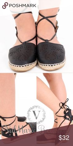 Black Laser Cut Lace Up Espadrilles Perfect for Fall! These stark black espadrilles feature laser cut pattern, tie around ankle and heel support. Fits true to size and very comfortable!!! Have sizes 5-10. Whole sizes only. Ask for measurements if need be. Also have in light creamy taupe ValMarie Shoes Espadrilles