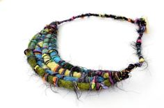 Custom Made Bold And Colorful Felted Woven Necklace
