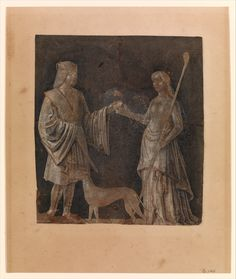 Title: A Gentleman, a Young Woman, and a Dog Creator: Michele da Verona Date Created: early century Museum Collection, Brown And Grey, Gray, 16th Century, Verona, Young Women, Illusions, Gentleman