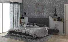 Proiect mobilare dormitor cu design neconventional, influente industriale prin nuante de antracit, minimalist, pat cu efect de plutire, in tendintele 2016.