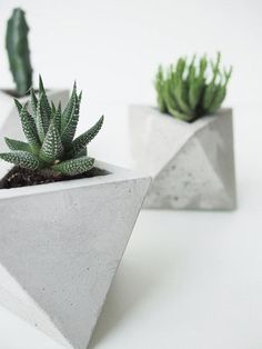 In smooth, hand-sculpted concrete, Frauklarer's geometric planters are sure to impress the minimalist design lover in your life. What would you plant in yours? See more slick picks from the editors of @coolhunting now on the Etsy Blog. #etsygifts