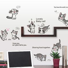 Cartoon Cat Wall Decals Vinyl Stickers Home Decor Cartoon Cats Wall Sticker For Kids Rooms Wall Decor Stickers Mural Wall Paper #Affiliate