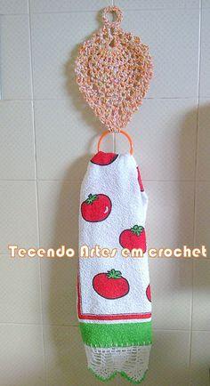 Tecendo Artes em Crochet: Porta-pano de pratos e Toalhinha de bandeja